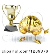 Clipart Of A 3d Gold Brain Character Holding Up A Trophy Cup And Shrugging Royalty Free Illustration