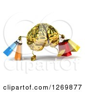 Clipart Of A 3d Gold Brain Character Walking With Colorful Shopping Bags Royalty Free Illustration
