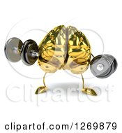 Clipart Of A 3d Gold Brain Character Working Out With Dumbbells Royalty Free Illustration