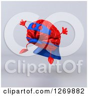 Clipart Of A 3d Jumping Red Super Hero Brain Over Gray Royalty Free Illustration