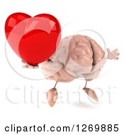 Clipart Of A 3d Brain Character Holding A Heart And Jumping Royalty Free Illustration