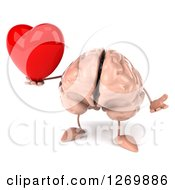Clipart Of A 3d Brain Character Holding A Heart And Shrugging Royalty Free Illustration