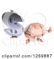 Clipart Of A 3d Brain Character Holding Up A Dollar Symbol And Thumb Royalty Free Illustration