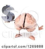 Clipart Of A 3d Brain Character Shrugging And Holding A Dollar Symbol Royalty Free Illustration