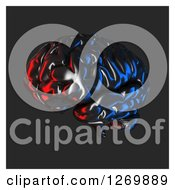 Clipart Of A 3d Chrome Brain Reflecting Blue And Red Light Over Gray And White Royalty Free Illustration by Julos
