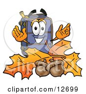 Suitcase Cartoon Character With Autumn Leaves And Acorns In The Fall