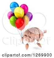 Clipart Of A 3d Brain Character Floating With Party Balloons Royalty Free Illustration