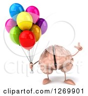 Clipart Of A 3d Brain Character Holding Up A Finger And Party Balloons Royalty Free Illustration