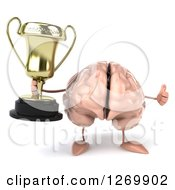 Clipart Of A 3d Brain Character Giving A Thumb Up And Holding A Trophy Royalty Free Illustration