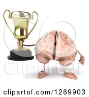 Clipart Of A 3d Brain Character Holding A Trophy Royalty Free Illustration