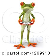 Clipart Of A 3d Green Springer Frog Standing And Holding An Open Book Royalty Free Illustration