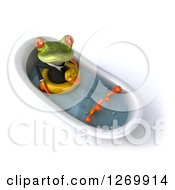 Clipart Of A 3d Green Business Springer Frog Sitting In A Bath Tub With A Duck Inner Tube Royalty Free Illustration