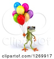 Clipart Of A 3d Green Springer Frog Wearing Sunglasses And Walking With Party Balloons Royalty Free Illustration