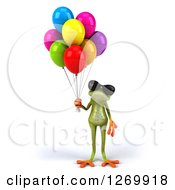 Clipart Of A 3d Green Springer Frog Wearing Sunglasses And Standing With Party Balloons Royalty Free Illustration