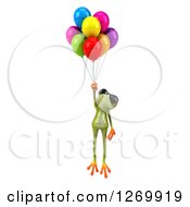 Clipart Of A 3d Green Springer Frog Wearing Sunglasses And Floating With Party Balloons Royalty Free Illustration