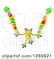 Clipart Of A 3d Light Green Frog Balancing Fruits In His Hands Royalty Free Illustration