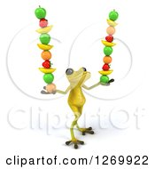 Clipart Of A 3d Light Green Frog Balancing Fruits In His Hands 2 Royalty Free Illustration