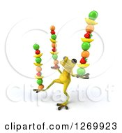 Clipart Of A 3d Light Green Frog Balancing Fruits In His Hands And Foot Royalty Free Illustration
