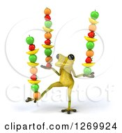Clipart Of A 3d Light Green Frog Balancing Fruits In His Hands And Foot 2 Royalty Free Illustration