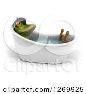 Clipart Of A 3d French Frog Soaking In A Bath Tub Royalty Free Illustration