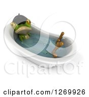 Clipart Of A 3d French Frog Soaking In A Bath Tub 2 Royalty Free Illustration