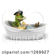 Clipart Of A 3d French Frog Soaking In A Bath Tub And Wearing A Duck Inner Tube Royalty Free Illustration