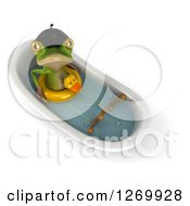 Clipart Of A 3d French Frog Looking Up And Soaking In A Bath Tub And Wearing A Duck Inner Tube Royalty Free Illustration