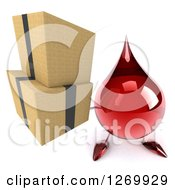 Clipart Of A 3d Hot Water Or Blood Drop Mascot Holding Up Boxes Royalty Free Illustration
