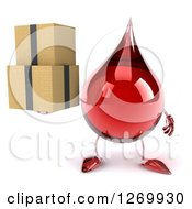 Clipart Of A 3d Hot Water Or Blood Drop Mascot Holding Boxes Royalty Free Illustration by Julos