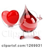 Clipart Of A 3d Hot Water Or Blood Drop Mascot Holding Up A Finger And A Heart Royalty Free Illustration