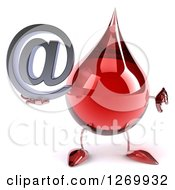 Clipart Of A 3d Hot Water Or Blood Drop Mascot Holding An Arobase Email Symbol And Thumb Down Royalty Free Illustration