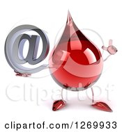 Clipart Of A 3d Hot Water Or Blood Drop Mascot Holding Up A Finger And An Arobase Email Symbol Royalty Free Illustration
