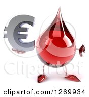 Clipart Of A 3d Hot Water Or Blood Drop Mascot Holding A Euro Symbol And Thumb Down Royalty Free Illustration