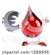 Clipart Of A 3d Hot Water Or Blood Drop Mascot Holding Up A Finger And A Euro Symbol Royalty Free Illustration