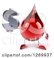 Clipart Of A 3d Hot Water Or Blood Drop Mascot Holding A Dollar Symbol Royalty Free Illustration
