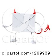 Clipart Of A 3d Devil Envelope Character Presenting Royalty Free Illustration by Julos