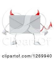 Clipart Of A 3d Devil Envelope Character Royalty Free Illustration
