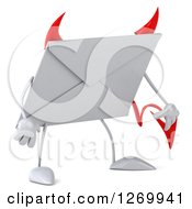 Clipart Of A 3d Devil Envelope Character Pouting Royalty Free Illustration by Julos