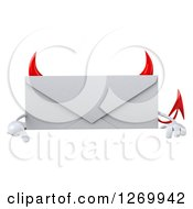 Clipart Of A 3d Devil Envelope Character Pointing Down Over A Sign Royalty Free Illustration by Julos