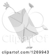 Clipart Of A 3d Envelope Character Cartwheeling Royalty Free Illustration