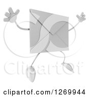 Clipart Of A 3d Envelope Character Jumping Royalty Free Illustration