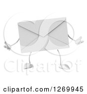 Clipart Of A 3d Envelope Character Shrugging Royalty Free Illustration