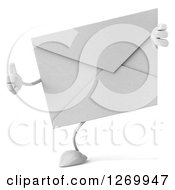3d Envelope Character Giving A Thumb Up Around A Sign