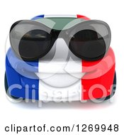 Clipart Of A 3d French Flag Porsche Car Character Wearing Sunglasses Royalty Free Illustration