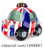 Clipart Of A 3d British Flag Taxi Cab Character Facing Left Royalty Free Illustration by Julos