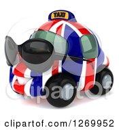 Clipart Of A 3d British Flag Taxi Cab Character Wearing Sunglasses And Facing Left Royalty Free Illustration