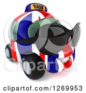 Clipart Of A 3d British Flag Taxi Cab Character Wearing Sunglasses And Facing Right Royalty Free Illustration