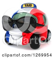 Clipart Of A 3d French Taxi Cab Character Wearing Sunglasses And Facing Left Royalty Free Illustration