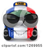 Clipart Of A 3d French Taxi Cab Character Wearing Sunglasses Royalty Free Illustration