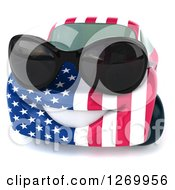 Clipart Of A 3d Happy American Flag Porsche Car Character Wearing Sunglasses Royalty Free Illustration